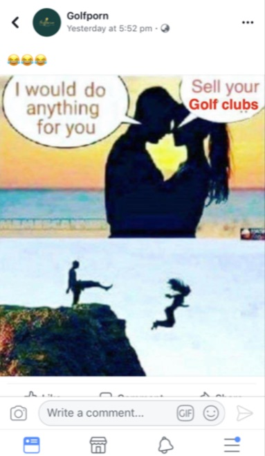 Golf porn facebook post cliff murder
